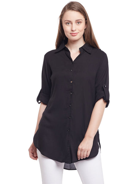 Castle Black Solid Rayon Shirt