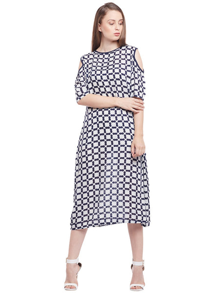 Castle Indigo Printed Cold-Shoulder Rayon Dress