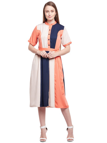 Castle Multicolored Solid Crepe Dress