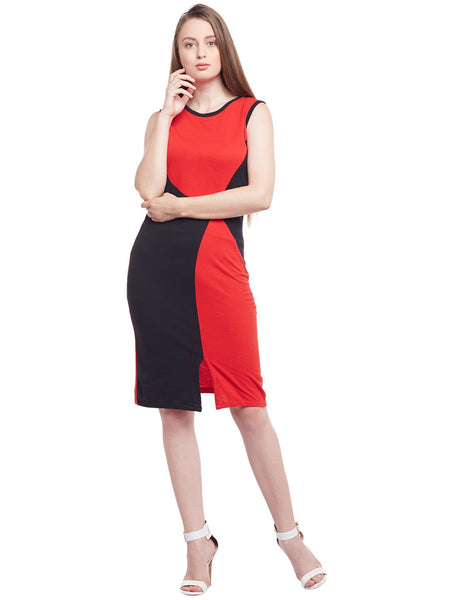 Castle Black & Red Solid Hozri Dress