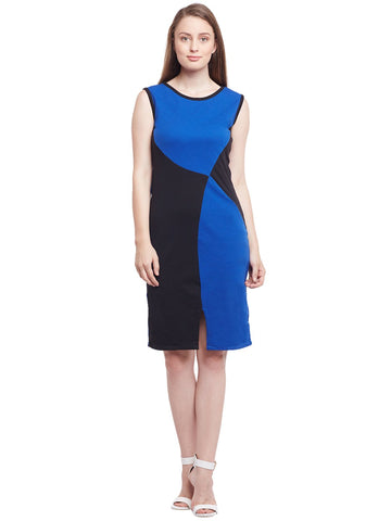 Castle Royal Blue & Black Solid Hozri Dress