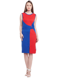 Castle Red & Royal Blue Solid Hozri Dress