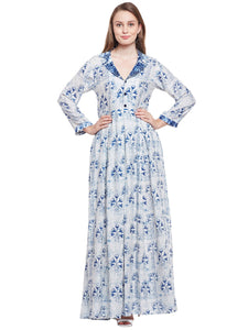 Castle Indigo Printed Rayon Dress