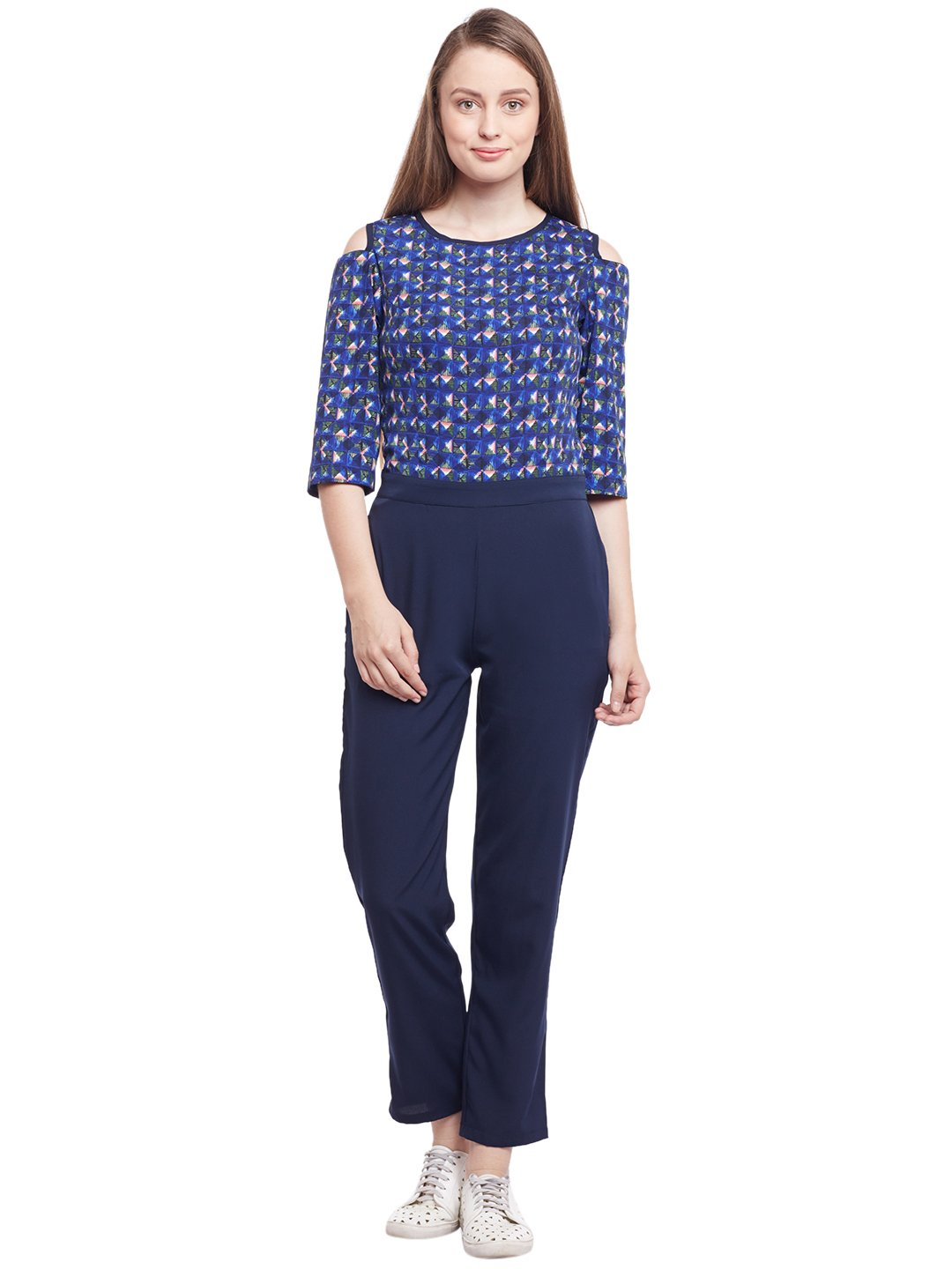Castle Navy Blue Printed Jumpsuit