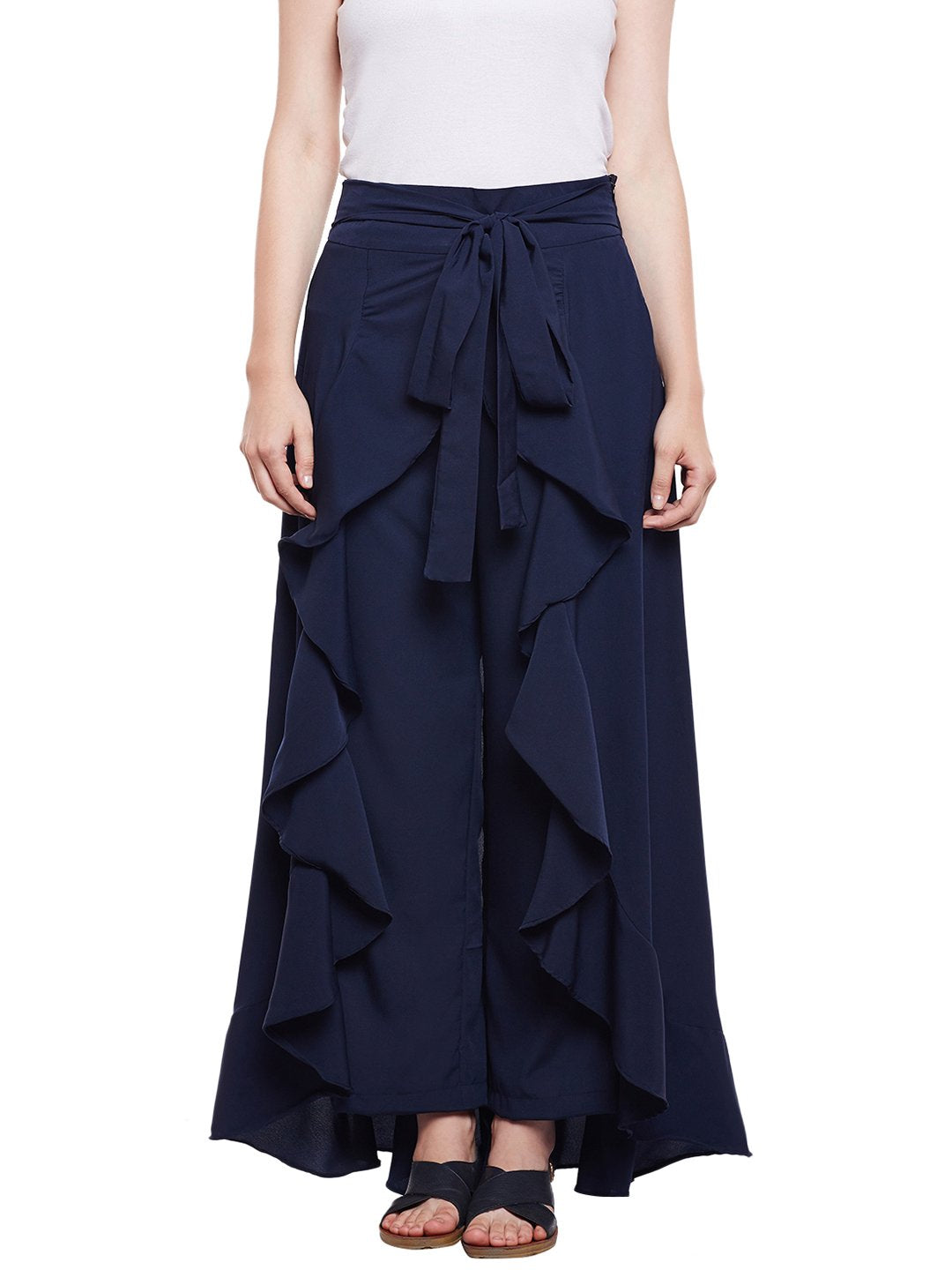 Castle Navy Blue Solid Ruffle Palazzo Pant