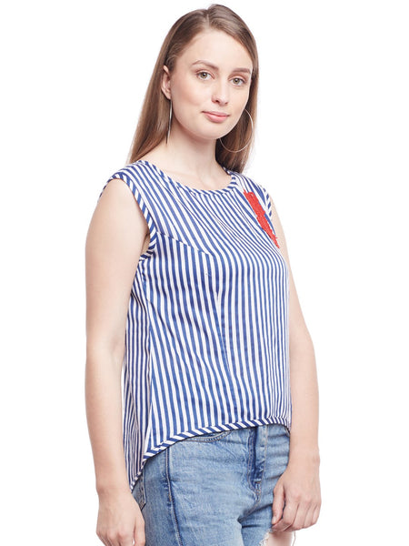 Castle Navy Blue  Striped Rayon Top