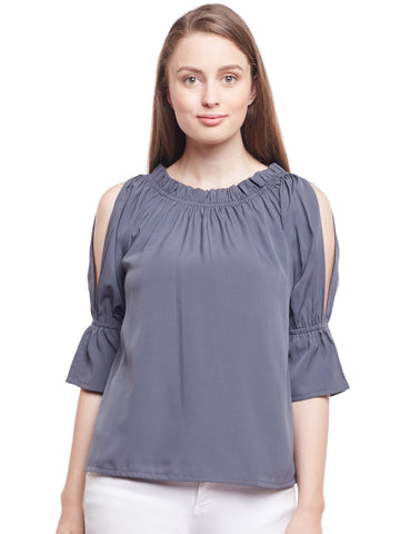 Castle Grey Solid Crepe Top