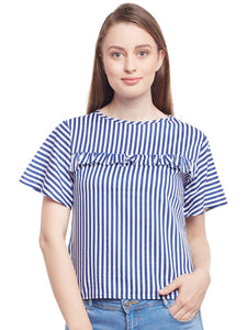 Castle Navy Blue Stripes Ruffle Top