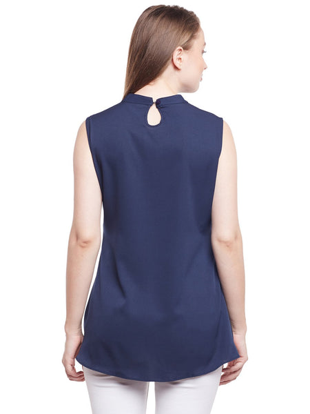 Castle Navy Blue High-Low Hem Top