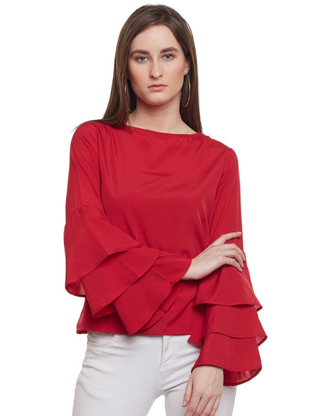 Castle Maroon Ruffled Sleeve Top