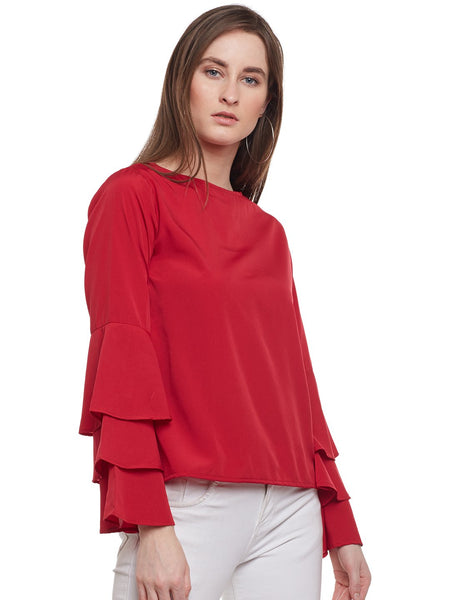 Castle Maroon Ruffled Sleeve Top - Castle Lifestyle