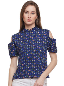 Castle Navy Blue Cold Shoulder Top