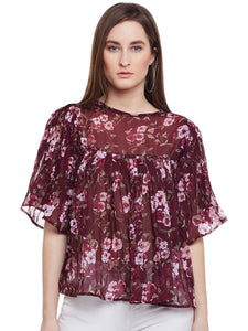 Castle Wine Pleated Bell Sleeve Top