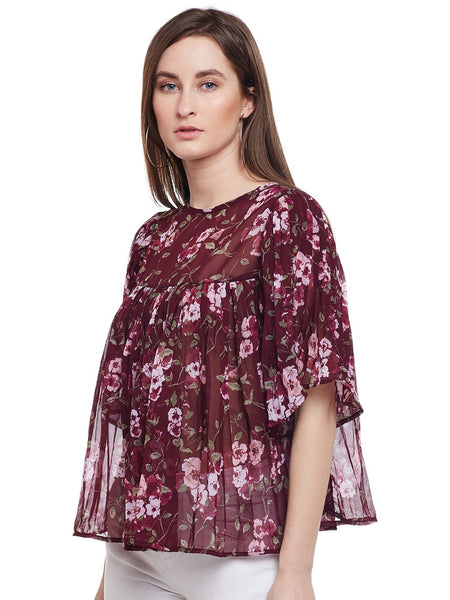 Castle Wine Pleated Bell Sleeve Top - Castle Lifestyle