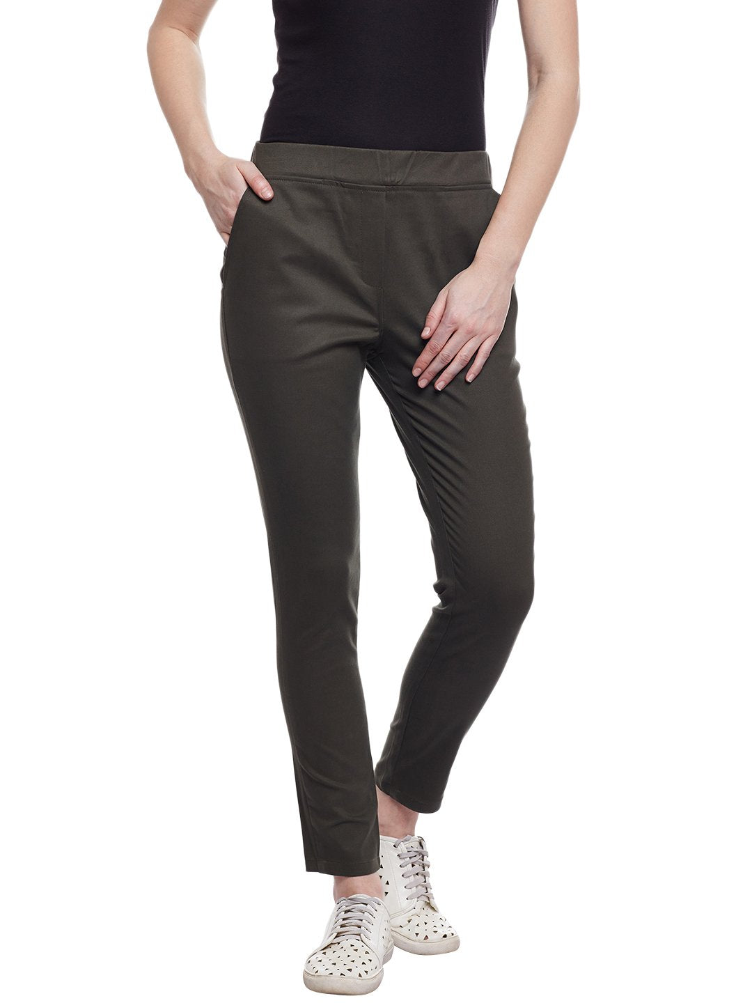 Castle Olive Cotton Spandex Jeggings