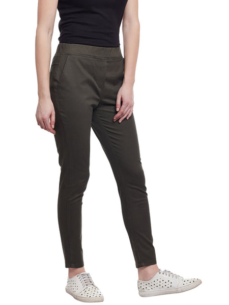 Castle Olive Cotton Spandex Jeggings - Castle Lifestyle
