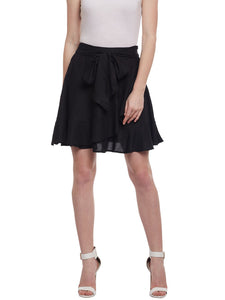 Castle Black Solid Rayon Mini Skirt