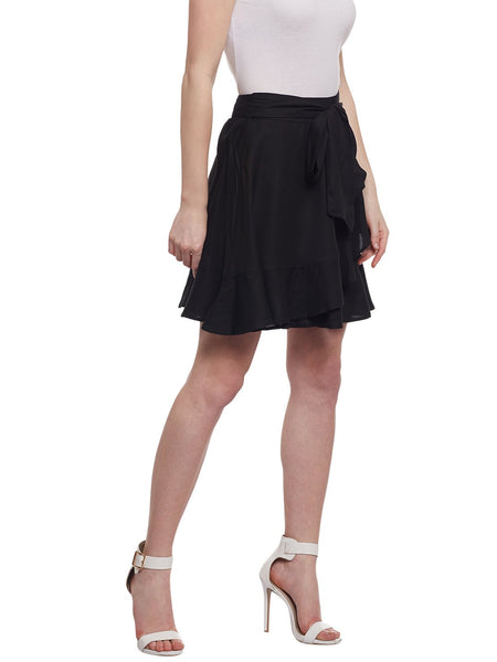 Castle Black Solid Rayon Mini Skirt - Castle Lifestyle