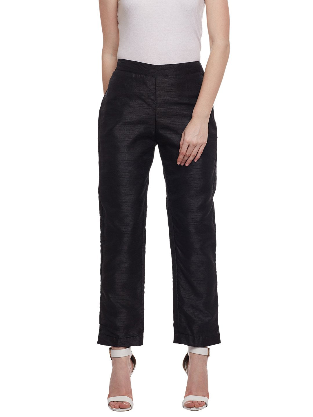 Castle Black Raw Silk Pant