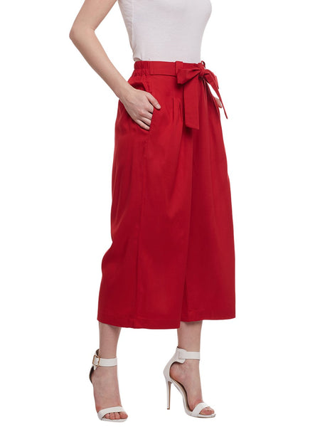 Castle Red Rayon Culottes - Castle Lifestyle