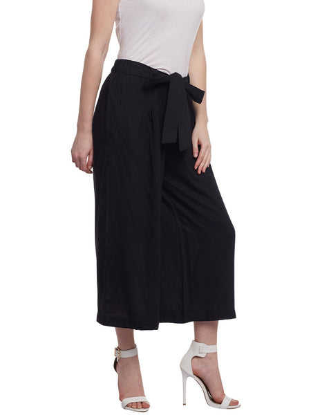 Castle Black Rayon Culottes - Castle Lifestyle