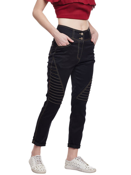 Castle Black Solid Cotton Spandex Pant - Castle Lifestyle