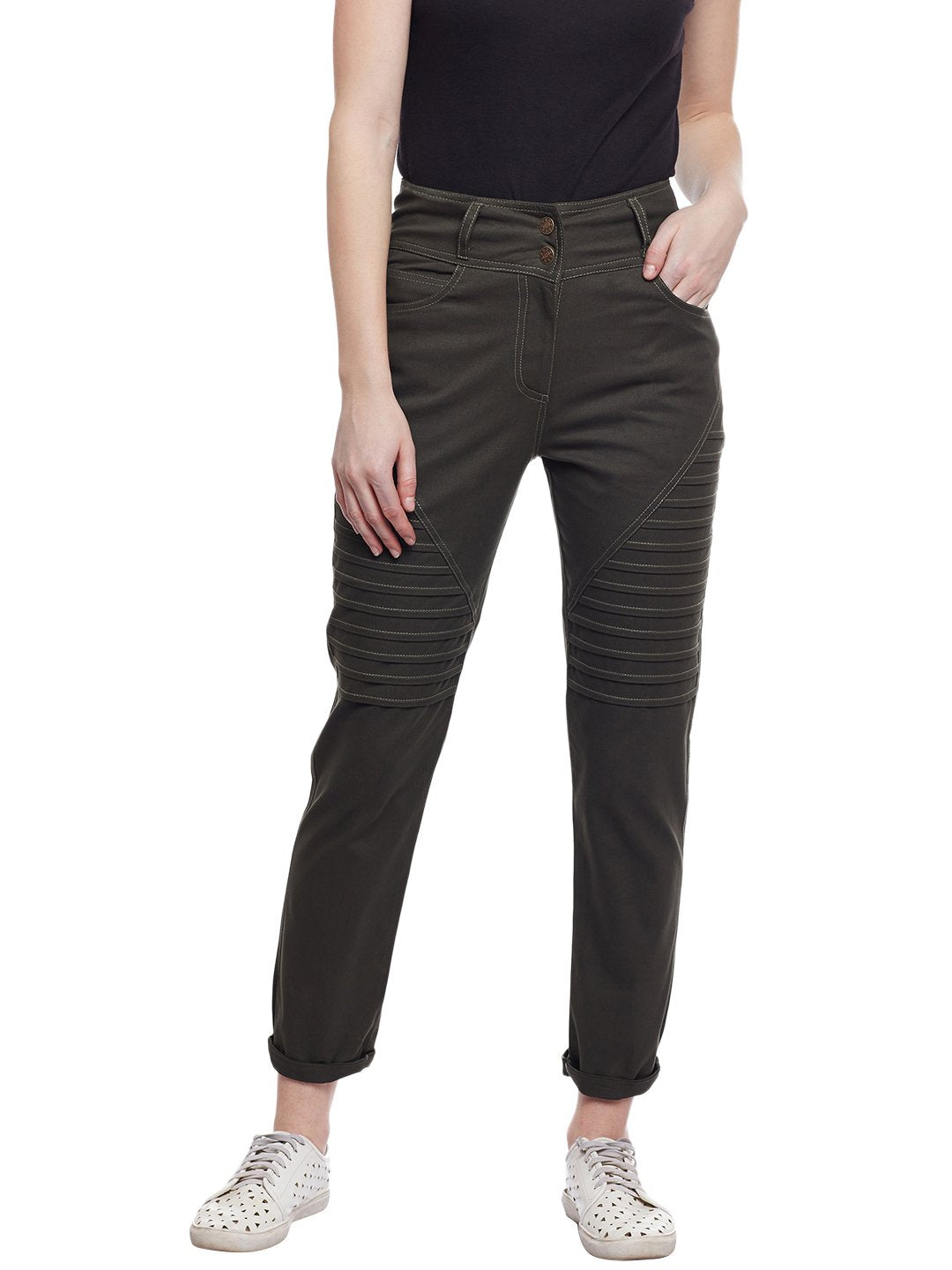Castle Olive Cotton Spandex Pant