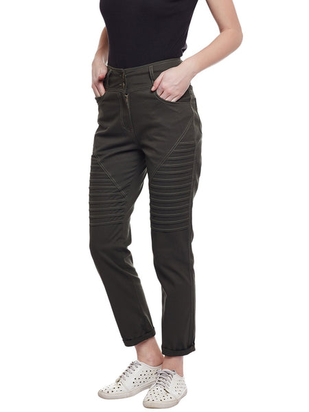 Castle Olive Solid Cotton Spandex Pant - Castle Lifestyle