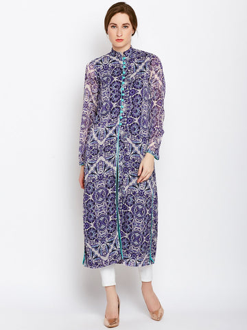 Castle Purple Printed Chiffon Kurta