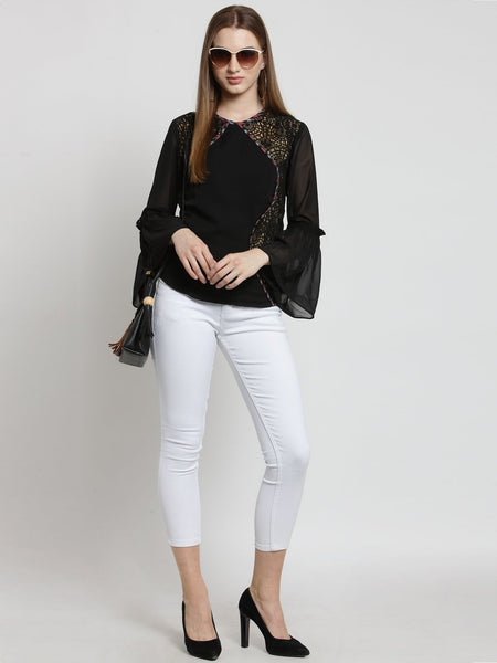Castle Black Self Design Georgette Top
