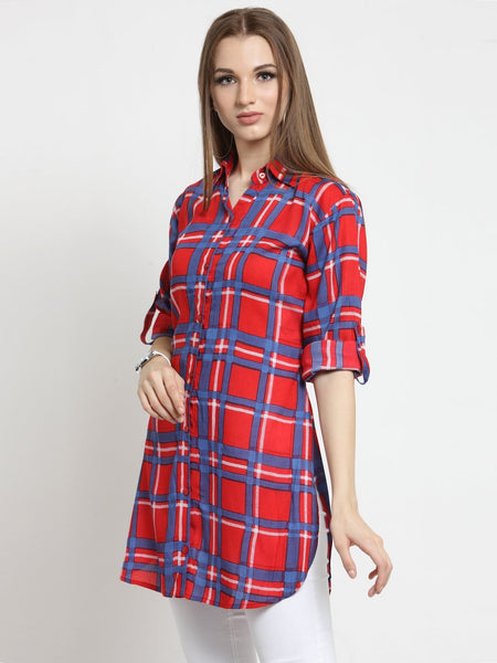 Castle Red Check Rayon Longline Shirt