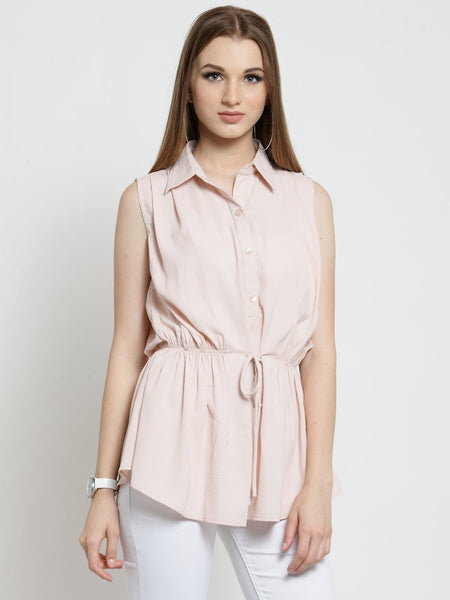 Castle Light Beige Solid Crepe Shirt