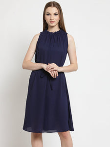 Castle Navy Blue Solid Shift Dress