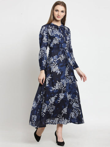 Castle Indigo Printed Maxi Dress