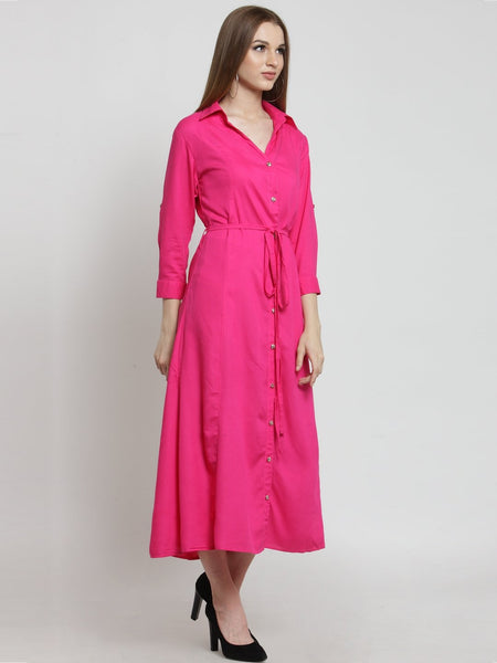 Castle Hot Pink Solid Rayon Dress