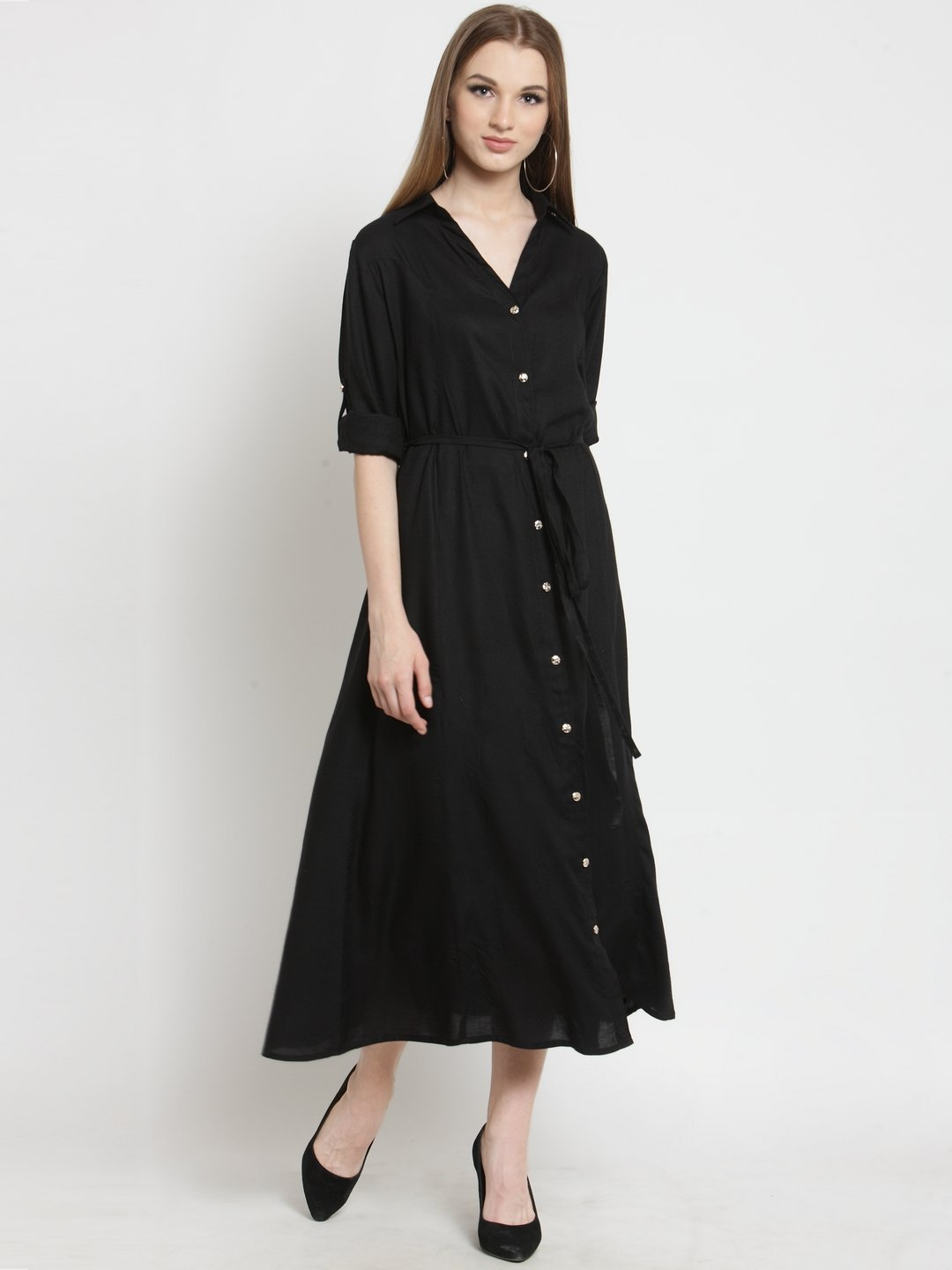 Castle Black Solid Rayon Dress