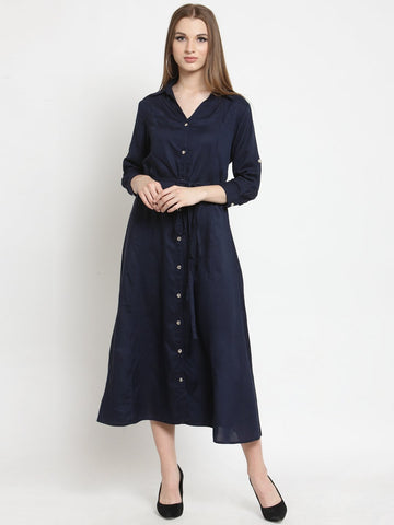 Castle Navy Blue Solid Rayon Dress