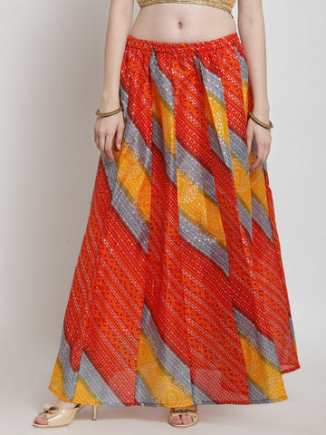 Castle Red Bandhani Print Flared Skirt