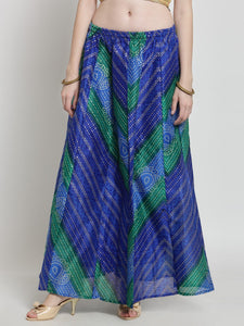 Castle Blue Bandhani Print Flared Skirt