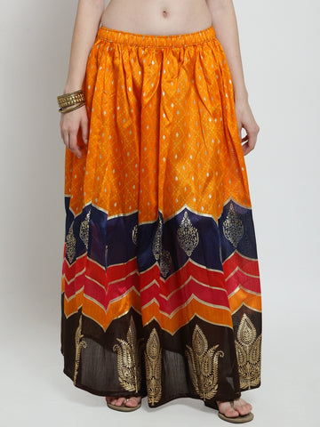 Castle Orange Printed Flared Skirt - Castle Lifestyle