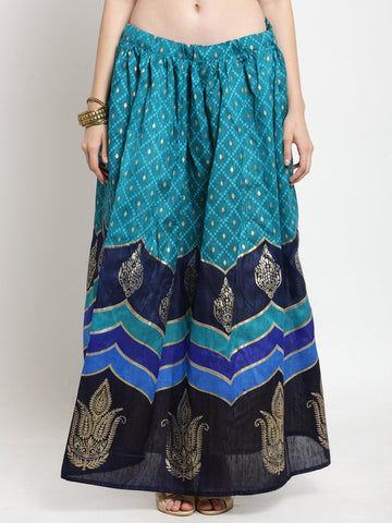 Castle Blue Printed Flared Skirt