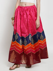 Castle Magenta Printed Flared Skirt