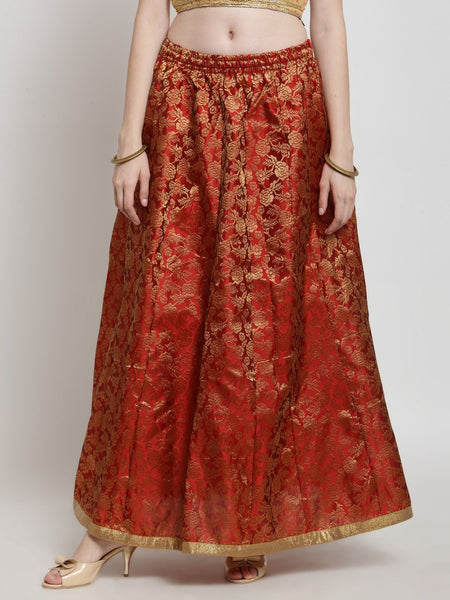 Castle Red Brocade Maxi Skirt