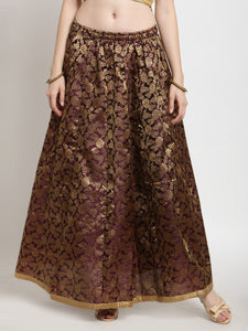 Castle Wine Brocade Maxi Skirt