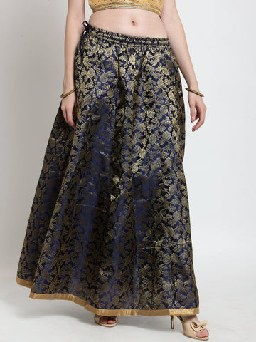 Castle Navy Blue Brocade Maxi Skirt