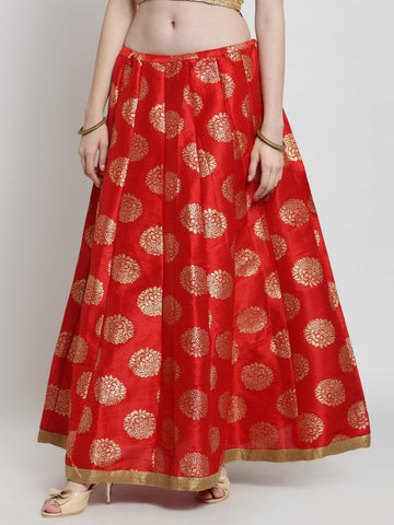 Castle Red Printed Raw Silk Long Skirt