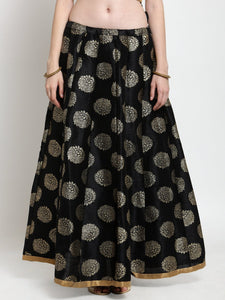 Castle Black Printed Raw Silk Long Skirt