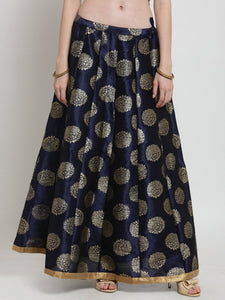 Castle Navy Blue Printed Raw Silk Long Skirt
