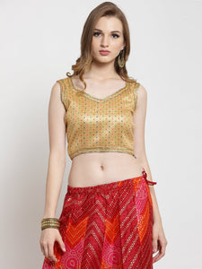 Castle Golden Embellished without Padded Saree Blouse