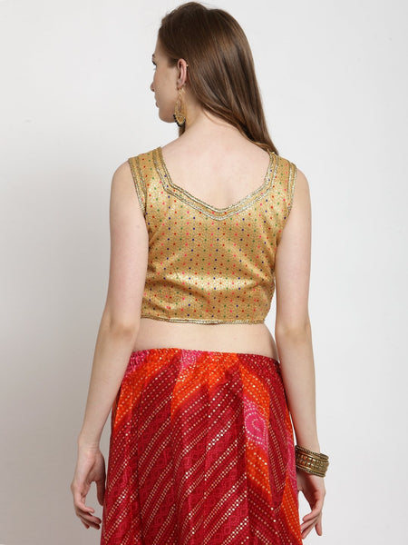 Castle Golden Embellished without Padded Saree Blouse - Castle Lifestyle